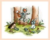 "Robot animals illustration. Mounted 8""x10"" art print of woodland friends playing dress up"