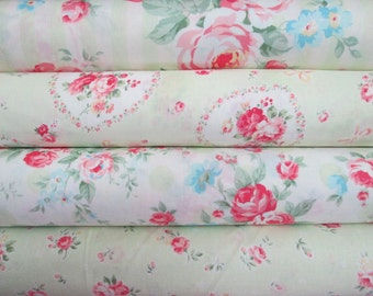 Lecien Princess Rose in Green, 4 Fat Quarters, Japanese Fabric