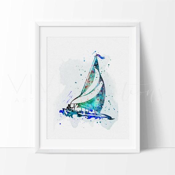 sail boat nautical nursery art print wall decor watercolor. Black Bedroom Furniture Sets. Home Design Ideas