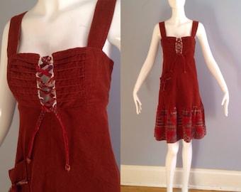 Vintage 70s Boho Hippie Dress ~ Corduroy Corset Lace Up Peasant Midi ~ Calico Print Pinafore Dress ~ Festival Jumper