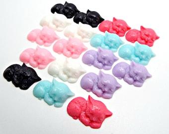 10 Cat Cabochons, 22mm Cabochons, Mixed Colors, Flatback Cat Cab, Resin Cabochons, Cell Phone Deco, Sleeping Cat, 6 Colors, UK Seller