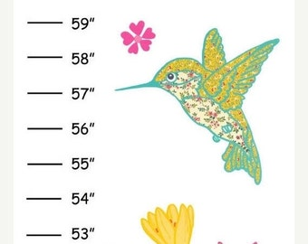 ON SALE MEGA Sale Personalized Hummingbirds Canvas Growth Chart