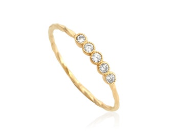 Five Stone Ring, Gold-filled Ring, Gold Stacking Ring, Gold filled Band, Wholesale Gold Ring, Crustal Stone Ring, Wholesale Jewelry Supplies