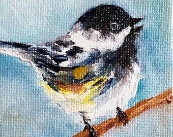 Original Oil Bird Painting, Christmas Ornament, Chickadee Bird, Mini Painting 2.5x2.5 Inch