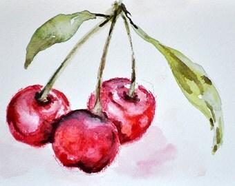 ORIGINAL Watercolor Painting, Red Cherries 4x6 Inch