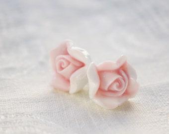 Pastel pink rose ceramic stud earrings,porcelain earring,Ceramic porcelain jewellery,small pretty gift,Christmas gift,for rose lover