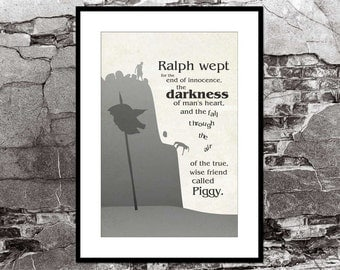 Lord of the Flies William Golding Literary Quote Poster Vintage Art Illustration Large Wall Art Prints Typography Print Gift Minimalist