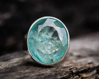Aquamarine Ring size 9.25 - Aquamarine Ring Size 9.25 - Genuine Aquamarine Sterling Silver Ring - Aquamarine Ring - Beautiful Blue Aqua Ring