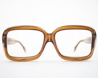 70s Vintage Eyeglasses | Oversized Clear Brown Square Glasses | NOS 1970s Aviator Eyeglass Frame | Deadstock Eyewear  - Pueblo Brown
