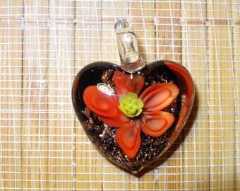 Lampwork Heart Pendant / Glass Heart Pendant