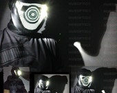 Black & White Light Up Mask Fx for LED Eye Cyclops Cosplay Edm Costume Robot Bot Head Helmet DJ Gig Stage Dance Wear Rave Outfit Glow Party