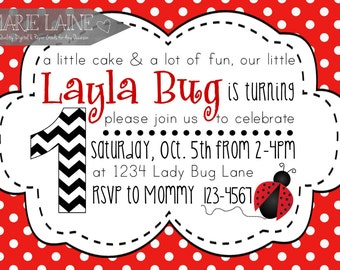 Ladybug Birthday Invitation LADY BUG