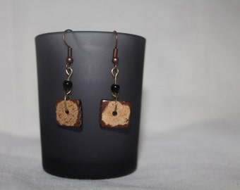 Antique effect wooden square beaded earrings