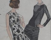 Vogue 6120 Pattern Misses' Dress Long Torso Evening Size 14 Bust 34 1960's Special Design