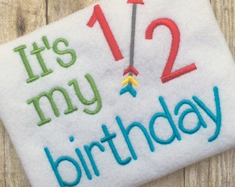 Birthday Embroidery Design - Half Birthday Embroidery Design - Embroidery Design - Boy Birthday Embroidery Design - Embroidery Saying