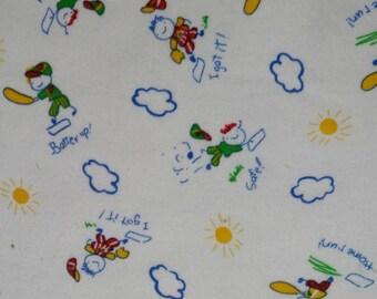 Cartoon Kids playing baseball - Cotton Knit Jersey Fabric
