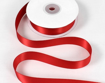 "Double Faced Red Satin Ribbon - 7/8"" Wide - 100% Polyester"