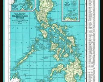 1945 Detailed map of the Philippine Islands- Vintage print, reference, nostalgia