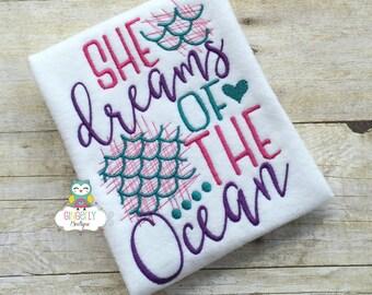 She Dreams of the Ocean Mermaid Shirt or Bodysuit,Mermaid Shirt, I Love Mermaids, Mermaid Tail, Mermaid Hair, Miss Mermaid