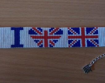 loom beade bracelet I love England. Flag of England. Beaded flag
