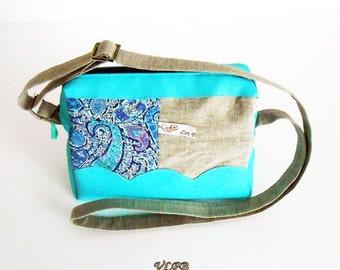 Handbag, satchel bag linen and liberty Bourton