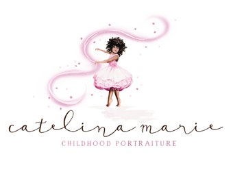 CLEARANCE - Watercolor Logo - OOAK - Tutu, Children, Wedding, Drawn, Artistic, Kids, Newborn Logo,  Princess - Child - Pink, Photography
