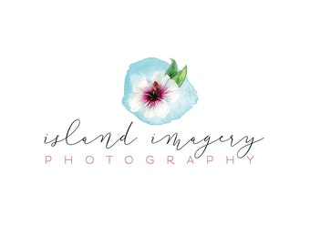 Watercolor Business Logo, watercolor, island, photography, watermark, Hawaii, floral - Newborn photography logo, hibiscus, flowers