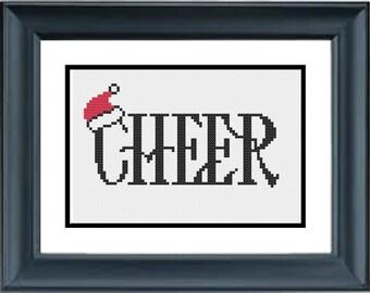 Cheer - Christmas Cross Stitch Pattern - PDF Cross-Stitch Pattern - Santa Hat