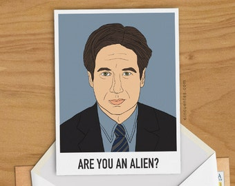 Fox Mulder Greeting Card Man Birthday  Gift The X Files Illustration I Want to Believe Aliens UFO Flying Saucer TV Dana Scully Fan Geekery