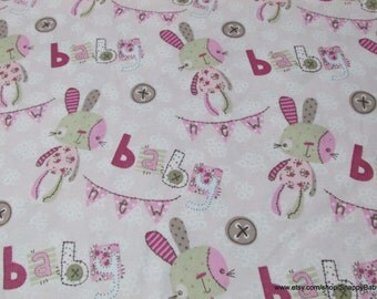 Flannel Fabric - Rag Bunny Pink Baby - By the yard - 100% Cotton Flannel