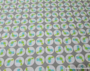 Flannel Fabric - Giraffi Birds Grey - 1 yard - 100% Cotton Flannel