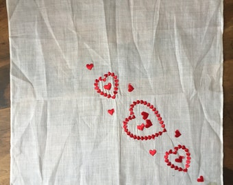 Beautiful Vintage Handkercheif with Embroidered Hearts, Free Shipping