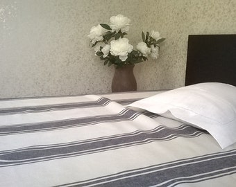 Stripped Linen bed sheet, pure linen white bed sheet