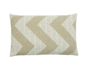Cushion cover ZIPPY beige natural quergestreift zigzag stripe striped canvas 30 x 50 cm