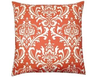 Pillowcase OZBORNE korall red white Baroque ornament 50 x 50 cm