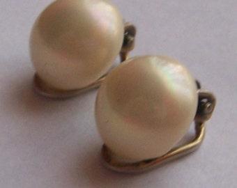 Vintage 835 Silver Pearl Luster Blip on Earrings