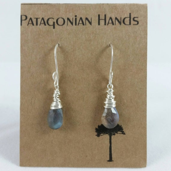 Handmade  Fine Silver (.999) and Sterling silver  earrings with wrapped Labradorite tear drop gemstone. Free shipping in the U. S.