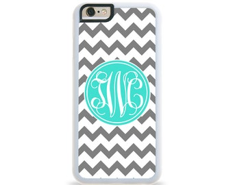 Chevron Turquoise Circle Monogram Personalized iPhone Case, Monogram Personalized Galaxy Case