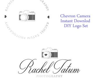 """INSTANT DOWNLOAD Custom Premade Photography Logo and Watermark """"Chevron Camera"""" - Fully Custom Font and Color"""
