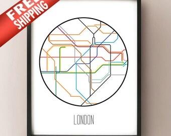 London, England - Minimalist Metro Subway Art Print - London Tube Map