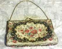 Vintage Walborg Needle Petit Point Tapestry Purse Made In France 1940's