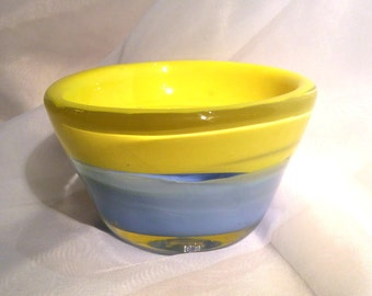 "Small Glass Art Bowl ""Fog and Sun"".  Hand Blown Glass Whatnot Bowl.  Yellow and Blue Glass Trinket Bowl."
