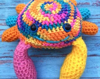 Crochet Crab, Amigurumi Crab, Stuffed Crab, Plush Crab, Rainbow Crab, Stuffed Animal Crab, Toy Crab