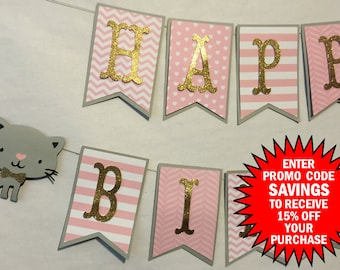 Kitty Cat Themed Happy Birthday Banner, Party Decorations, Birthday Party. Kitten Theme