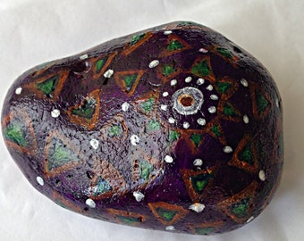 Hand Painted Stone - Paperweight/Ornament