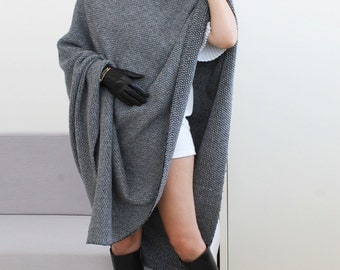 Gray knitted poncho, women wool poncho