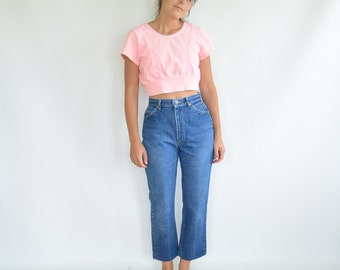 """Lee Jeans High Waist/Rise Vintage 80's 27"""" waist Slightly Tapered Altered Shorter Ankle Length Leather Lee patch"""
