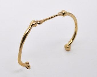 curved bone bracelet bangle / brass