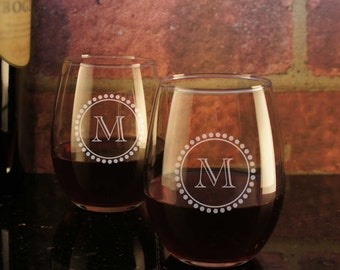 Stemless Wine Glasses Personalized with Our Monogram Design Options & Font Selection (Select Type of Glass - Each)