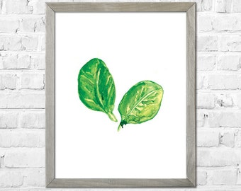 Spinach Art, Watercolor Print, Kitchen Wall Art, Kitchen Art Print, Vegetable Watercolor Painting, Kitchen Wall Decor
